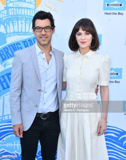 Producer Jacob Pechenik and actress Zooey Deschanel attend the 2018 Heal The Bay's Bring Back The Beach Awards Gala at The Jonathan Club on May 17...