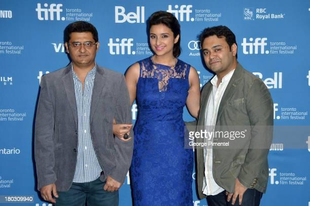 Producer Jaideep Sahni Actress Parineeti Chopra and Director Maneesh Sharma pose at the 'A Random Desi Romance' Press Conference during theÊ2013...