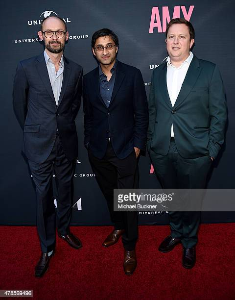 Producer James GayRees director Asif Kapadia and Nick Shymansky Sr AR Manager Universal Music Group UK arrives at the premiere of A24 Films 'Amy' at...