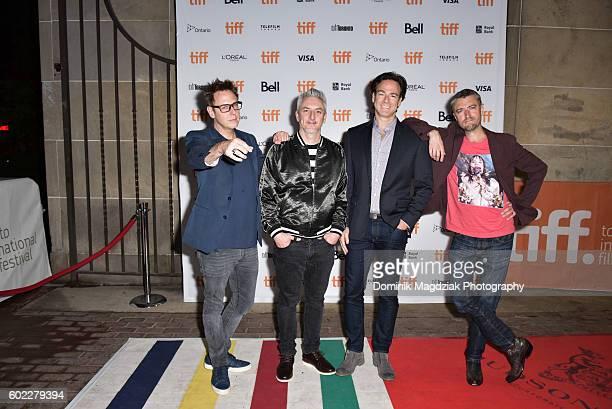 Producer James Gunn director Greg McLean producer Peter Safran and actor Sean Gunn attends 'The Belko Experiment' premiere during the 2016 Toronto...