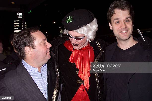Producer James L. Nederlander, on left, with writers Dan Studney, in middle, and Kevin Murphy arrive at the opening night of the new off Broadway...