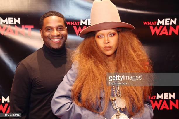 Producer James Lopez and Erykah Badu attend the Dallas special screening of Paramount Pictures' film 'What Men Want' at AMC North Park 15 on February...