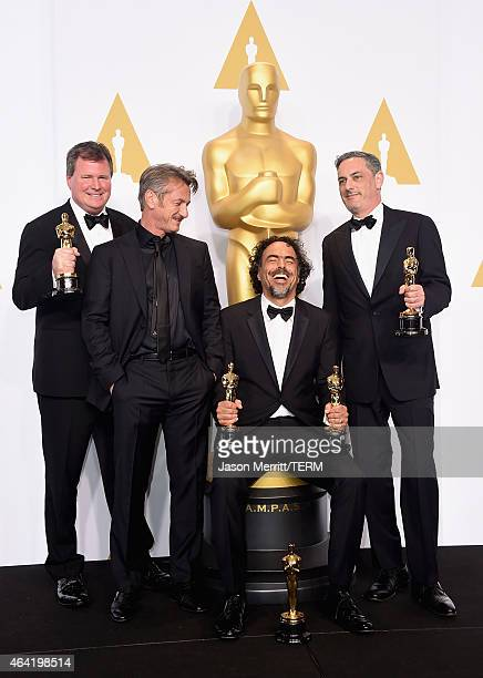 Producer James W Skotchdopole actor Sean Penn producer/director Alejandro G Inarritu winner of Best Original Screenplay Best Director and Best Motion...
