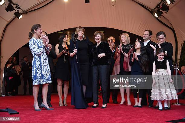 Producer Jane Rosenthal Susan Zuccotti and Zuccotti family cut the ribbon during the Opening Night Ceremony at The First Monday In May World Premiere...