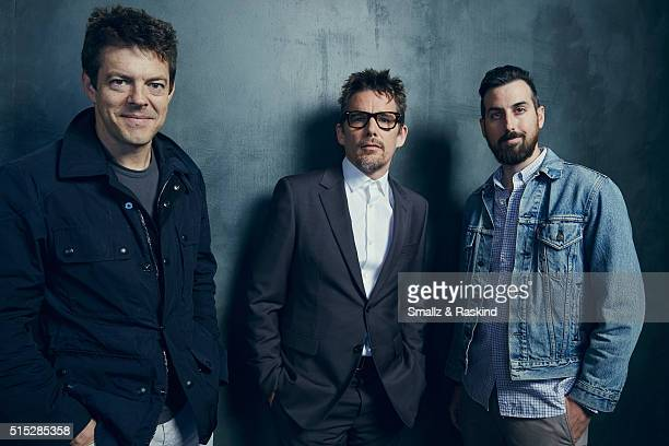 Producer Jason Blum, actor Ethan Hawke and director Ti West of 'In a Valley of Violence' are photographed in the Getty Images SXSW Portrait Studio...