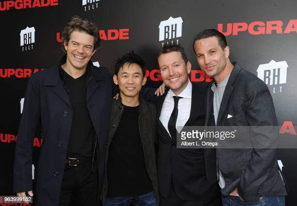 Producer Jason Blum director James Wan director Leigh Whannell and actor Logan MarshallGreen arrive for the premiere of BH Tilt's 'Upgrade' held at...