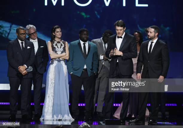 Producer Jason Blum with cast and crew of 'Get Out' accept Best SciFi/Horror Movie onstage during The 23rd Annual Critics' Choice Awards at Barker...
