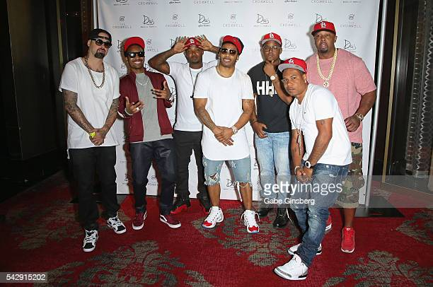 Producer Jason Jay E Epperson rappers Chingy Huey Nelly JKwon City Spud and Ali arrive at Drai's Beach Club Nightclub at The Cromwell Las Vegas on...