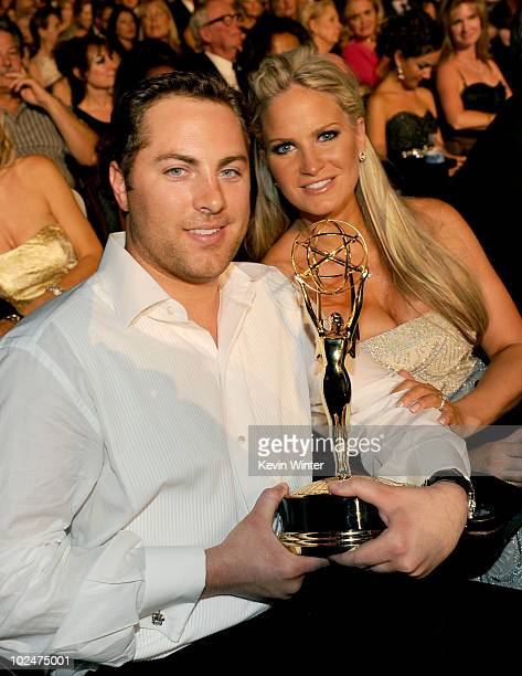 Producer Jay McGraw and Erica Dahm pose with his Outstanding Informative Talk Show award in the audience during the 37th Annual Daytime Entertainment...