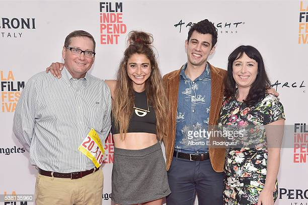 Producer Jay Smith codirectors Alexi Pappas and Jeremy Teicher and producer Laura Wagner attend the premiere of 'Tracktown' during the 2016 Los...