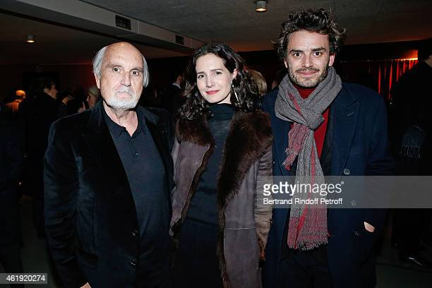Producer JeanLouis Livi actress Chloe Lambert and her husband producer Thibault Ameline attend 'La Maison d'a cote' Theater Play at Theatre du Petit...
