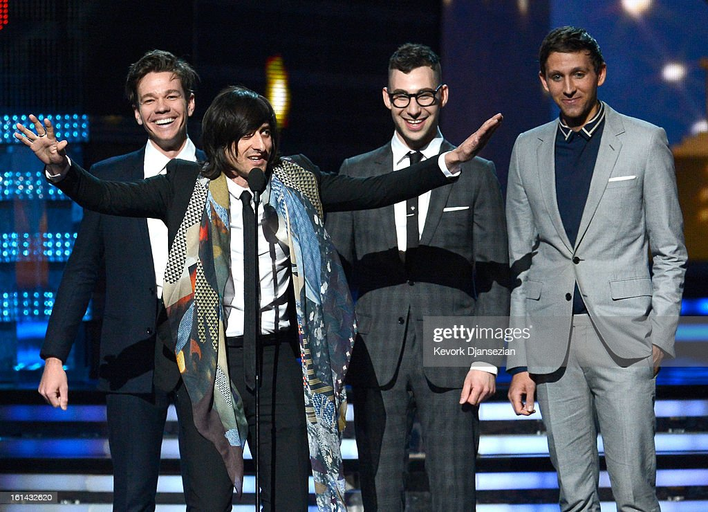 Producer Jeff Bhasker (2nd L, speaking) with musicians (L-R) Nate Ruess, Jack Antonoff and Andrew Dost of fun. accept Song of the Year award for 'We Are Young' onstage at the 55th Annual GRAMMY Awards at Staples Center on February 10, 2013 in Los Angeles, California.