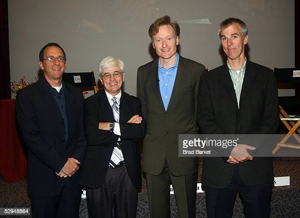 Producer Jeff Ross moderator Bill Carter talk show host Conan O'Brien and head writer Mike Sweeney pose together during An Evening with Late Night...