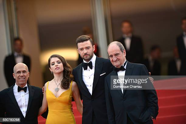 Producer Jeffrey Katzenberg Actors Justin Timberlake and Anna Kendrick and President of the festival Pierre Lescure attend the 'Cafe Society'...