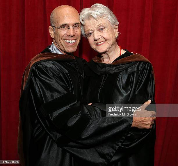 Producer Jeffrey Katzenberg presents actress Angela Lansbury with the Doctorate of Fine Arts degree from the American Film Institute during...
