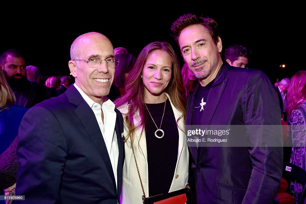 Producer Jeffrey Katzenberg, producer Susan Downey, and actor Robert Downey Jr. attend the MPTF 95th anniversary celebration with 'Hollywood's Night Under The Stars' at MPTF Wasserman Campus on October 1, 2016 in Los Angeles, California.
