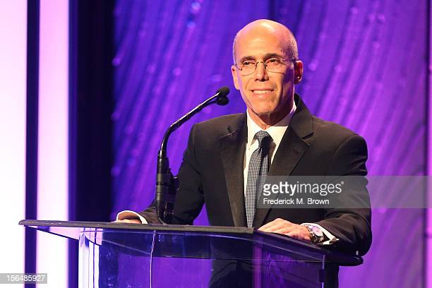 Producer Jeffrey Katzenberg speaks onstage during the 26th American Cinematheque Award Gala honoring Ben Stiller at The Beverly Hilton Hotel on...