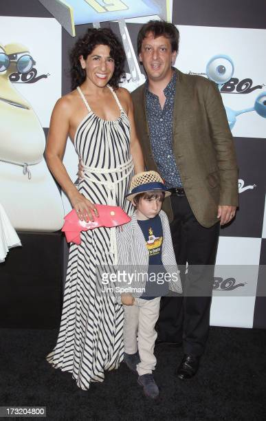 Producer Jen Cohn and writer Robert D Siegel with son attend the 'Turbo' New York Premiere at AMC Loews Lincoln Square on July 9 2013 in New York City