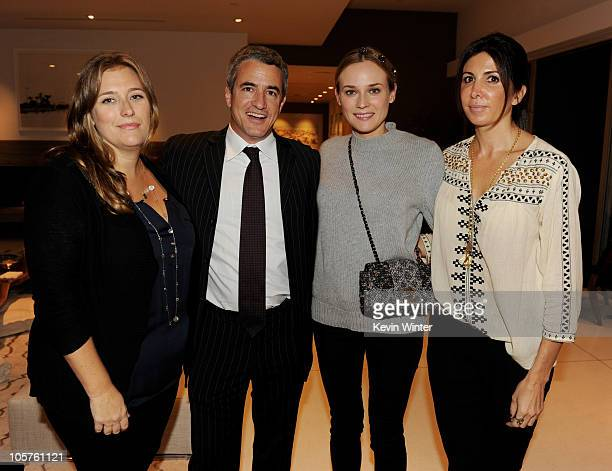 Producer Jennifer Kelly actors Dermot Mulroney Diane Kruger and producer Nathalie Marciano pose at a reception for IFC Films' Inhale at a private...