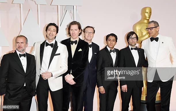 Producer Jeremy Dawson actor Adrien Brody filmmaker Wes Anderson screenwriter Hugo Guinness Tony Revolori actor Jason Schwartzmann and Jeff Goldblum...