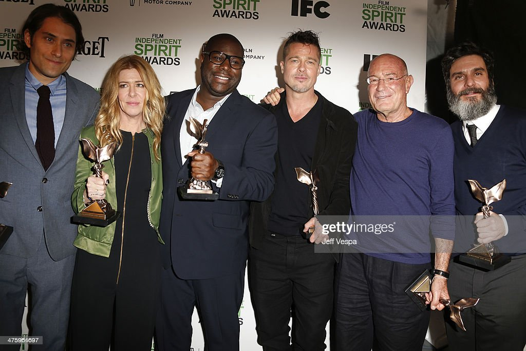 Producer Jeremy Kleiner, producer Dede Gardner, director Steve McQueen, actor/producer Brad Pitt, producer Arnon Milchan and producer Anthony Katagas attend the 2014 Film Independent Spirit Awards at Santa Monica Beach on March 1, 2014 in Santa Monica, California.