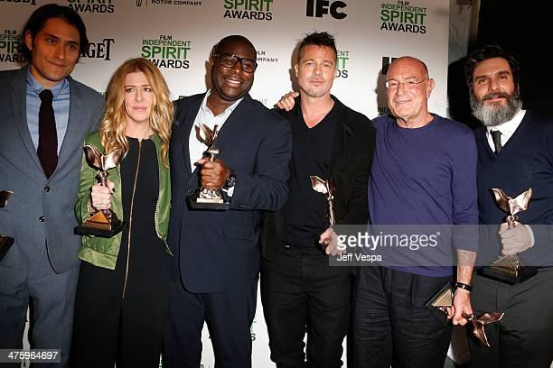 Producer Jeremy Kleiner producer Dede Gardner director Steve McQueen actor/producer Brad Pitt producer Arnon Milchan and producer Anthony Katagas...