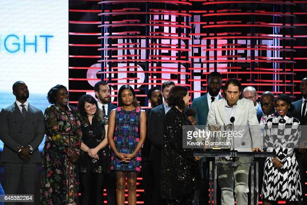 Producer Jeremy Kleiner speaks while he and the cast and crew of 'Moonlight' accept the Best Feature award onstage during the 2017 Film Independent...
