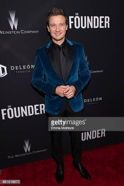 Producer Jeremy Renner attends the premiere of the Weinstein Company's 'The Founder' at ArcLight Cinemas Cinerama Dome on January 11 2017 in...