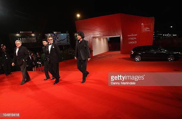 Producer Jeremy Thomas actor Takayuki Yamada director Takashi Miike and Koji Yakusho attend the '13 Assassins' premiere at the Palazzo del Cinema...