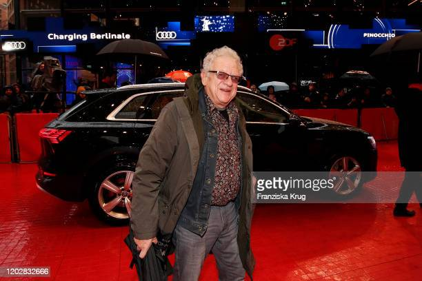 Producer Jeremy Thomas arrives in Audi etron car for the Pinocchio premiere during the 70th Berlinale International Film Festival Berlin at Berlinale...