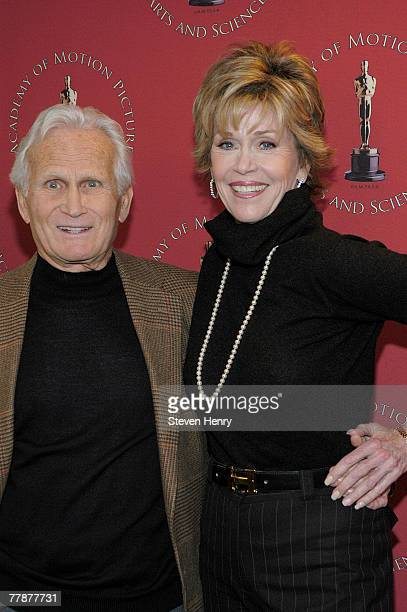 Producer Jermone Hellman and actress Jane Fonda attend the Monday Nights With Oscars Coming Home 30th Anniversary Screening at The Academy Theatre...