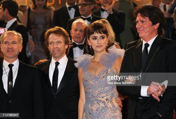 Producer Jerry Bruckheimer actress Penelope Cruz and director Rob Marshall depart the 'Pirates of the Caribbean On Stranger Tides' Premiere during...