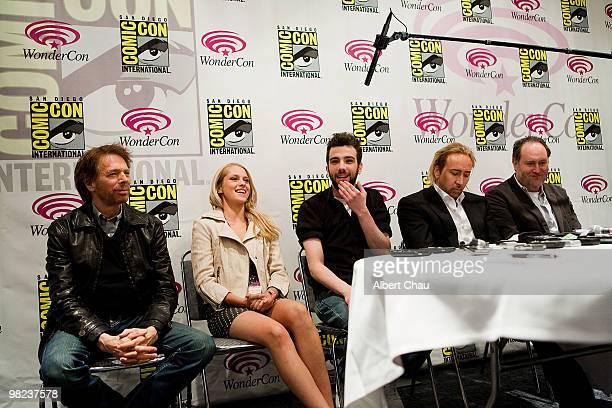 "Producer Jerry Bruckheimer, Actress Teresa Palmer, Actor Jay Baruchel, Actor Nicolas Cage and Director Jon Turteltaub attends ""The Sorcerer's..."