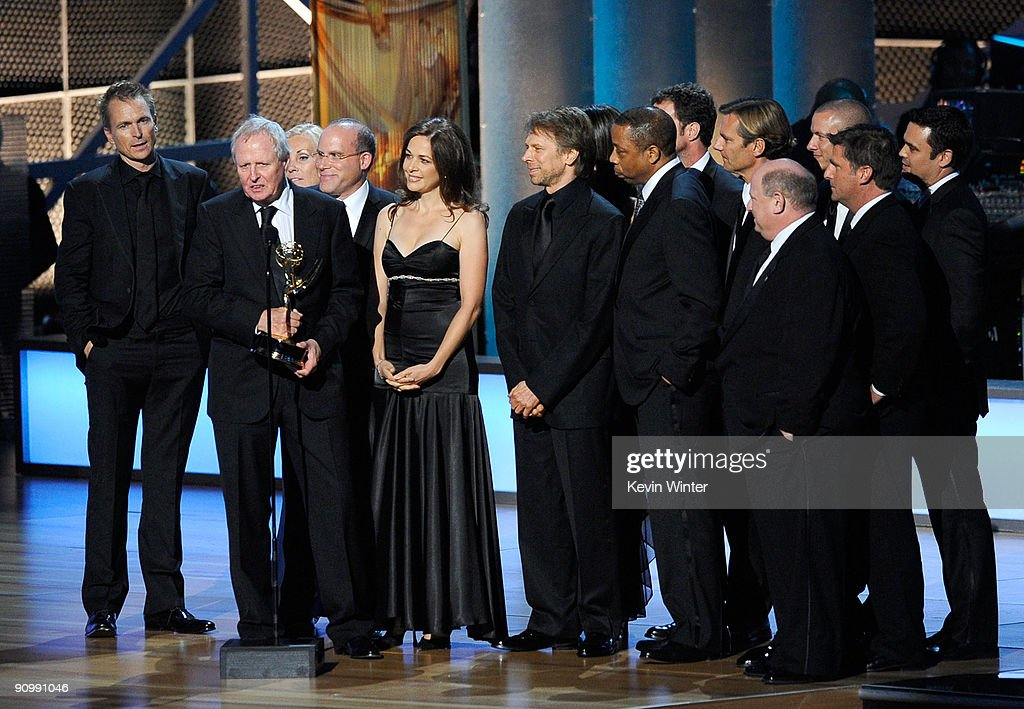 Producer Jerry Bruckheimer with cast and crew of