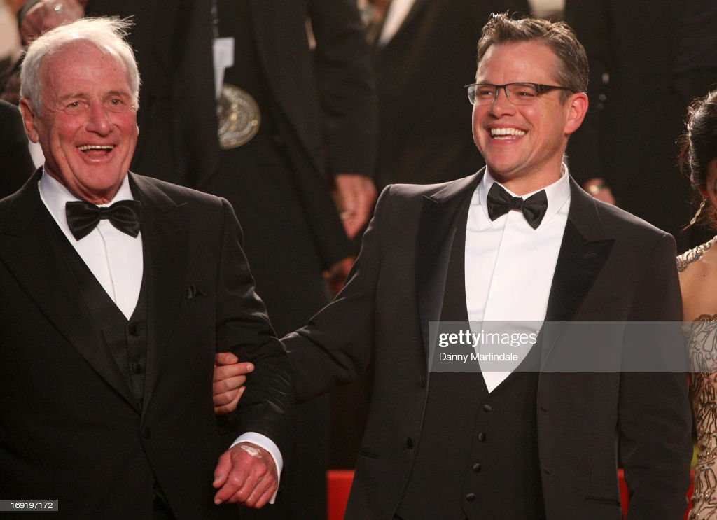 Producer Jerry Weintraub and actor Matt Damon depart the Premiere of 'Behind the Candelabra' during the 66th Annual Cannes Film Festival at Palais des Festivals on May 21, 2013 in Cannes, France.