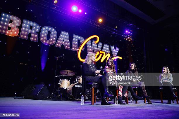 Producer Jessie NelsonSinger Sara Bareilles director Diane Paulus and moderator Blake Ross attend BroadwayCon 2016 at the Hilton Midtown on January...