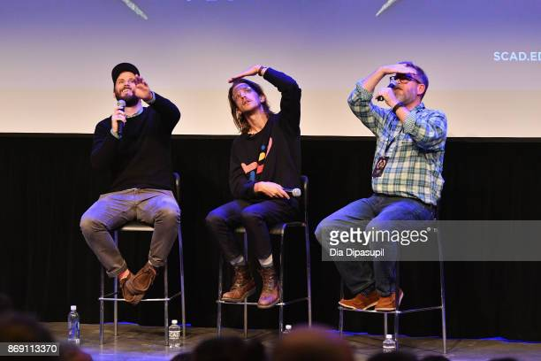 Producer Jett Steiger director Kevin Phillips and SCAD professor Michael J Chaney onstage at 'Super Dark Times' QA during 20th Anniversary SCAD...