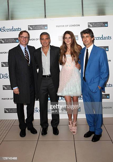 Producer Jim Burke actor George Clooney actress Shailene Woodley and director Alexander Payne attend The Descendants premiere during the 55th BFI...