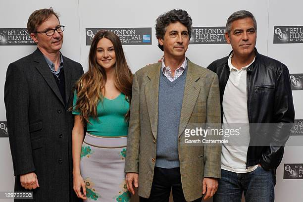 Producer Jim Burke actress Shailene Woodley director/writer Alexander Payne and actor George Clooney attend The Descendants photocall during the 55th...