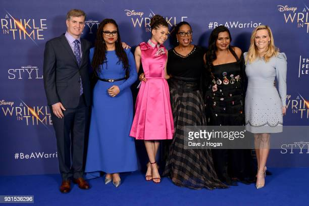 Producer Jim Whitaker director Ava DuVernay Storm Reid Oprah Winfrey Mindy Kaling and Reese Witherspoon attend the European Premiere of 'A Wrinkle In...