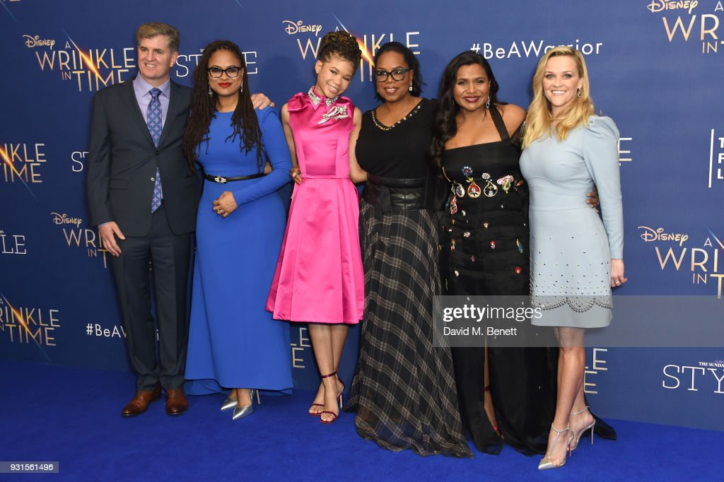 Producer Jim Whitaker, director Ava DuVernay, Storm Reid, Oprah Winfrey, Mindy Kaling and Reese Witherspoon attend the European Premiere of 'A Wrinkle In Time' at the BFI IMAX on March 13, 2018 in London, England.
