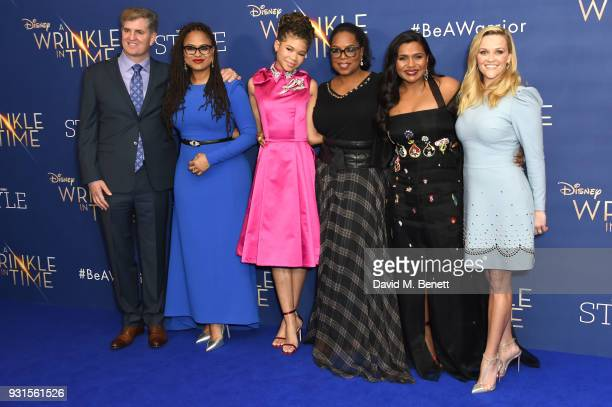 Producer Jim Whitaker director Ava DuVernay Storm Reid Oprah Winfrey Mindy Kaling and Reese Witherspoon attend the European Premiere of A Wrinkle In...