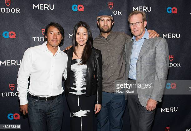 Producer Jimmy Chin producer Elizabeth Chai Vasarhelyi filmmaker Renan Ozturk and rock climber Conrad Anker attend the 'Meru' New York premiere at...