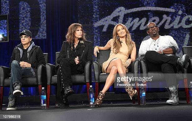 Producer Jimmy Iovine, musicians Steven Tyler, Jennifer Lopez and producer Randy Jackson speak onstage during the 'American Idol' panel at the FOX...
