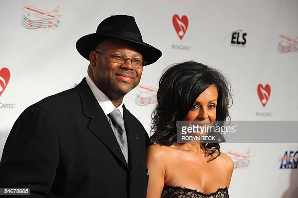 Producer Jimmy Jam and his wife Lisa Padilla arrive at the MusiCares Person of the Year tribute in honor of Neil Diamond on February 06 2009 in Los...