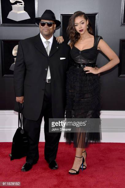 Producer Jimmy Jam and model Bella Harris attend the 60th Annual GRAMMY Awards at Madison Square Garden on January 28 2018 in New York City