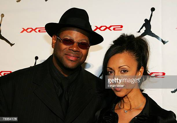 Producer Jimmy Jam and wife Lisa Padilla arrive to the celebration for Jordan Brand's launch of the Air Jordan XX2 shoe at the MGM Grand Pavillion...