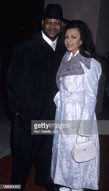 Producer Jimmy Jam and wife Lisa Padilla attend 38th Annual Grammy Awards on February 28 1996 at the Shrine Auditorium in Los Angeles California