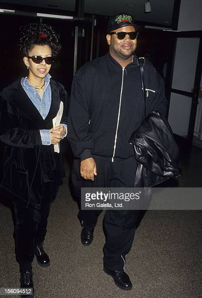 Producer Jimmy Jam and wife Lisa Padilla sighted on March 3 1994 at the Los Angeles International Airport in Los Angeles California