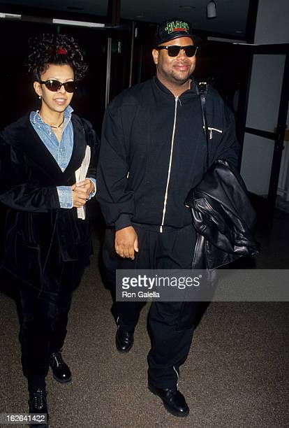 Producer Jimmy Jam and wife Lisa Padilla sighted on March 3, 1994 at the Los Angeles International Airport in Los Angeles, California.